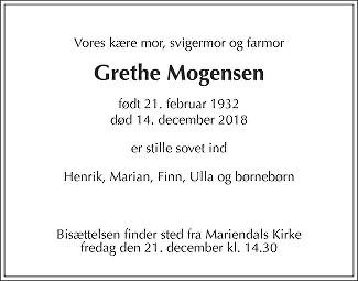 Grethe  Mogensen Death notice