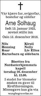 Arne Solhaug Dødsannonse