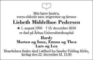 Lisbeth Middelboe Pedersen Death notice