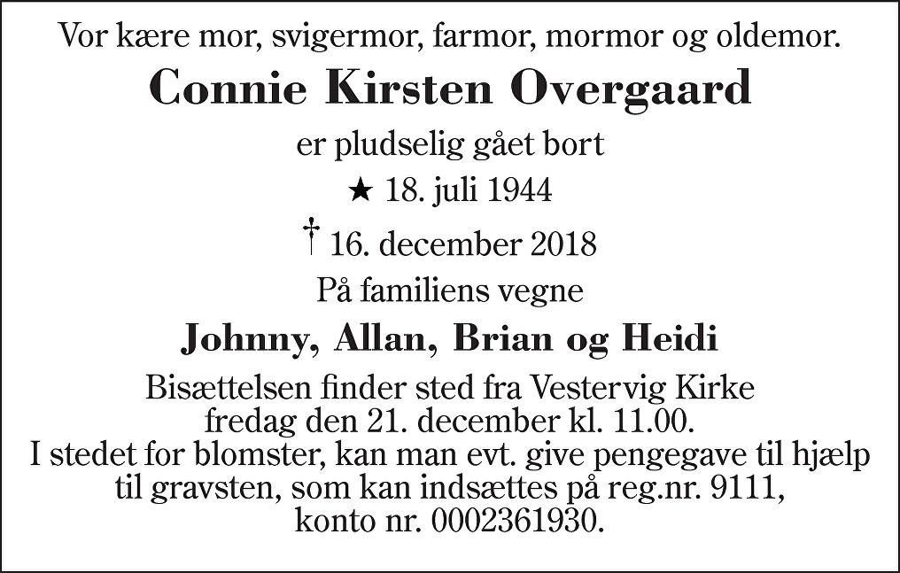 Connie Kirsten  Overgaard Death notice