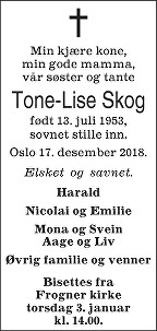 Tone-Lise Gahre Skog Dødsannonse