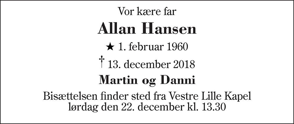 Allan  Hansen Death notice