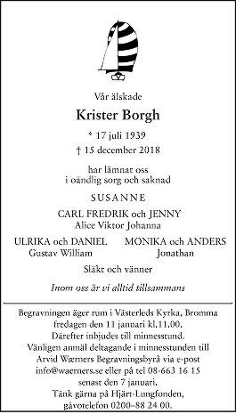 Krister Borgh Death notice