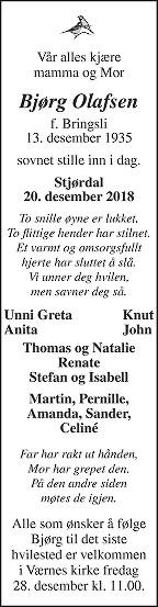 Bjørg Olafsen Dødsannonse
