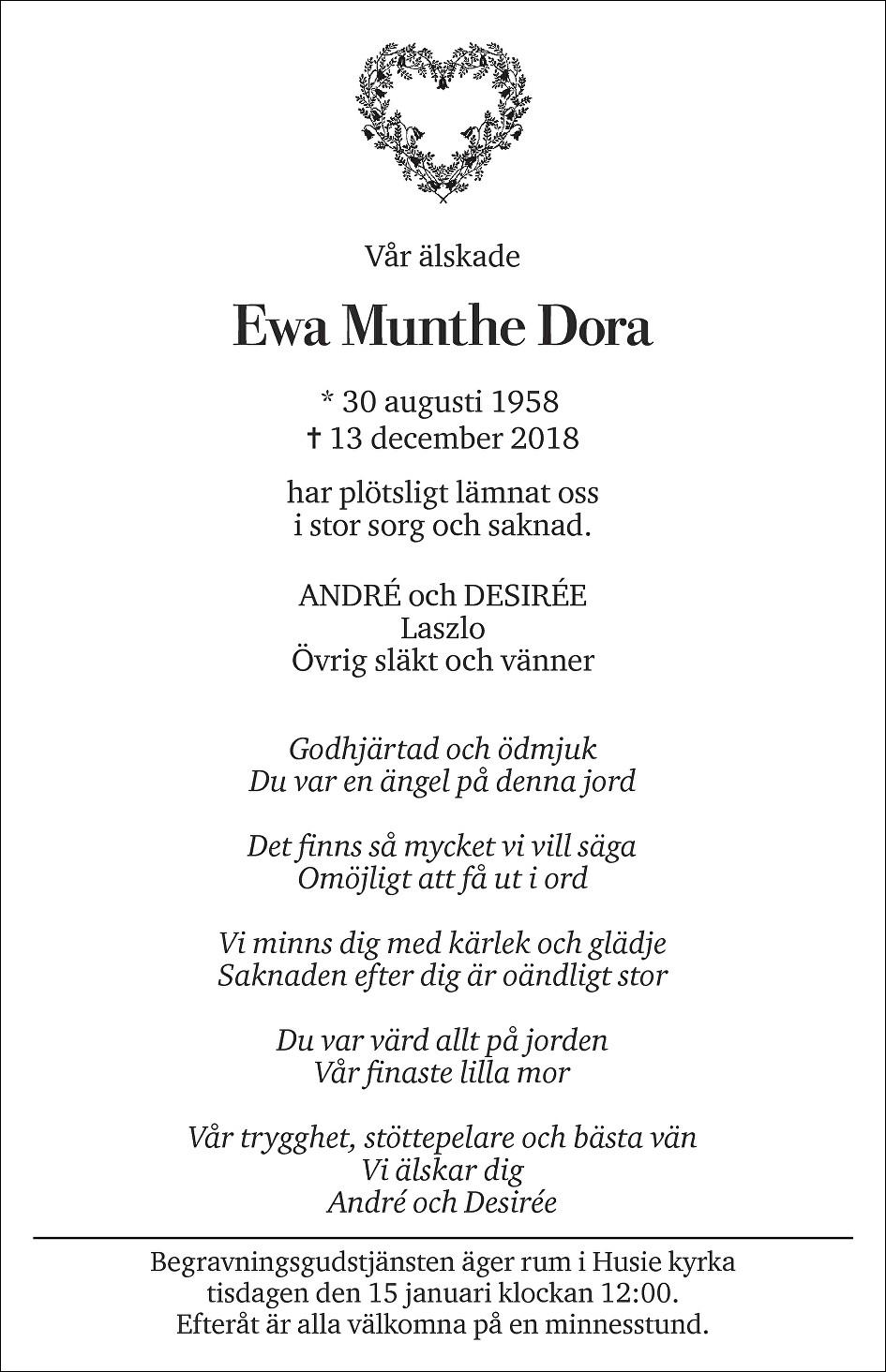 Ewa Munthe Dora Death notice