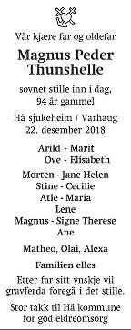 Magnus Peder Thunshelle Dødsannonse