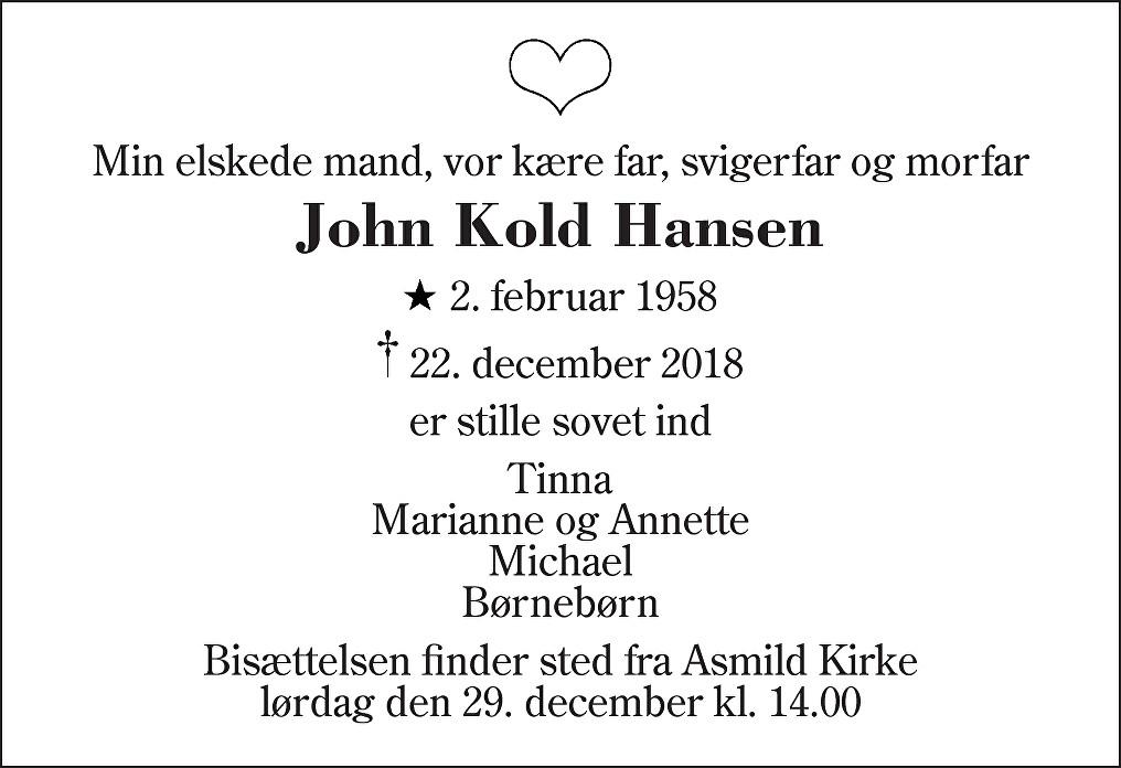 John Kold  Hansen Death notice