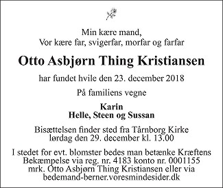 Otto Asbjørn Thing Kristiansen Death notice