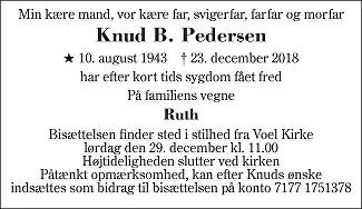 Knud Børge Pedersen Death notice