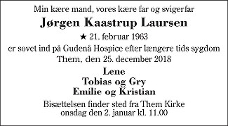 Jørgen Kaastrup Laursen Death notice