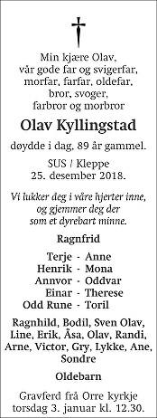 Olav Kyllingstad Dødsannonse