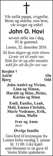 John O. Hovi Dødsannonse