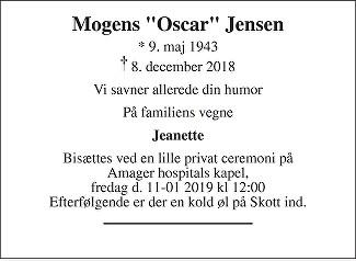 Mogens  Jensen Death notice