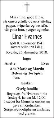 Einar Hvarnes Dødsannonse