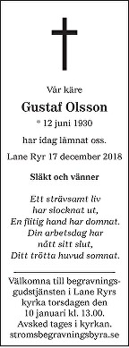 Gustaf Olsson Death notice