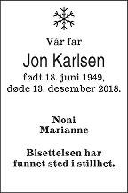 Jon Karlsen Dødsannonse