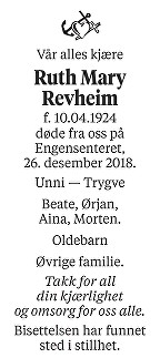 Ruth Mary Revheim Dødsannonse