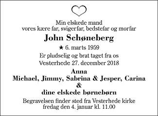 John  Schøneberg Death notice