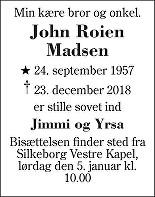 John Roien Madsen Death notice