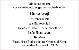 Birte  Gejl Death notice