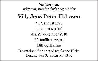 Villy Jens Peter  Ebbesen Death notice