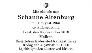 Susanne Altenburg Death notice