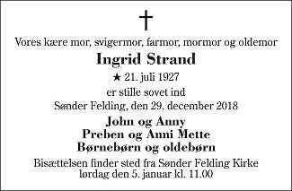 Ingrid Strand Death notice