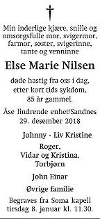 Else Marie Nilsen Dødsannonse