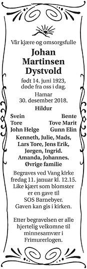 Johan Martinsen Dystvold Dødsannonse