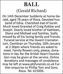 Gerald Richard Ball Death notice
