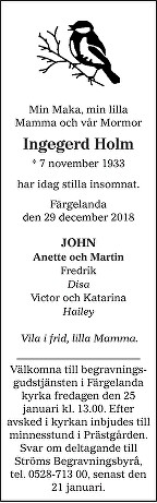 Ingegerd Holm Death notice