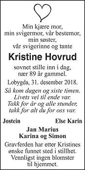 Kristine Hovrud Dødsannonse