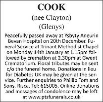 Glenys Cook Death notice