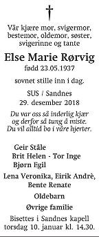 Else Marie Rørvig Dødsannonse