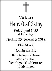 Hans Olaf Østby Dødsannonse