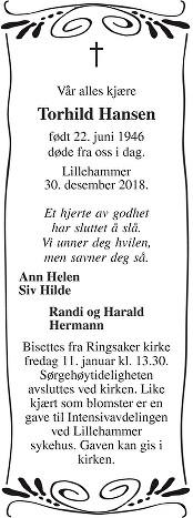 Torhild Hansen Dødsannonse