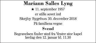 Mariann Salles  Lyng Death notice