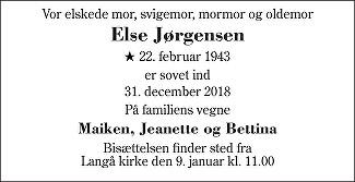 Else  Jørgensen Death notice