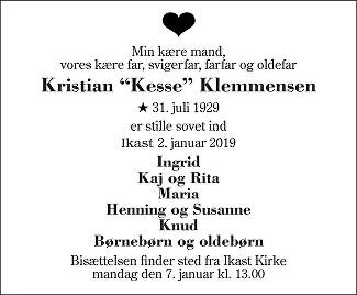 Kristian Østergaard Klemmensen Death notice