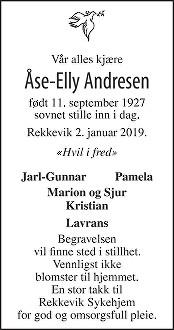 Åse-Elly Andresen Dødsannonse