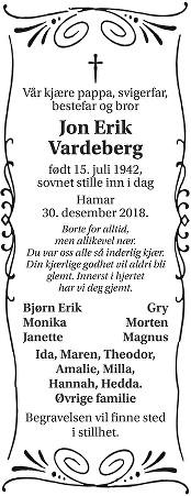 Jan Erik Vardeberg Dødsannonse