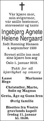 Ingebjørg Agnete Helene Nergaard Dødsannonse