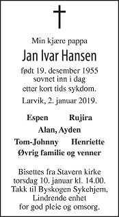 Jan Ivar Hansen Dødsannonse