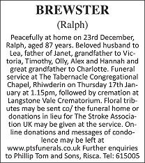 Ralph Brewster Death notice