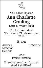 Ann Charlotte Grading Dødsannonse