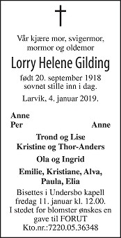 Lorry Helene Gilding Dødsannonse