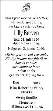 Lilly Veierud Berven Dødsannonse