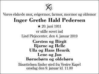 Inger Grethe Hald Pedersen Death notice