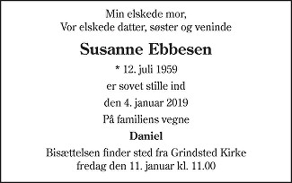 Susanne  Ebbesen Death notice