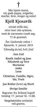 Kjell Kjosavik Dødsannonse